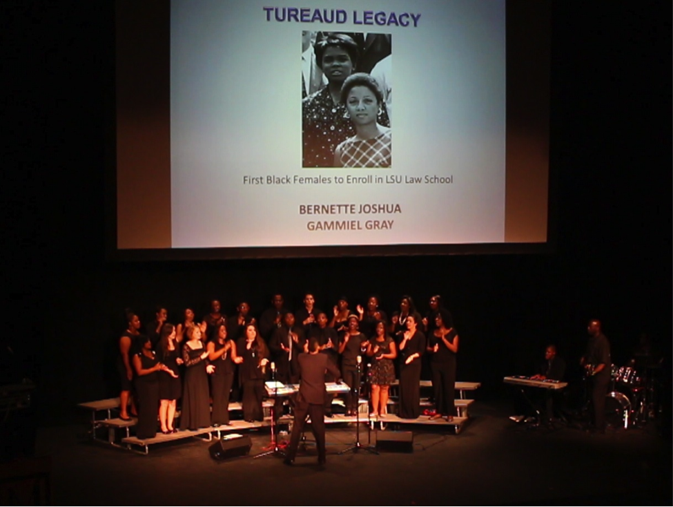 """Performance from the """"Here's to You, Mr. Tureaud!"""" production during the A.P. Tureaud Sr. Black Alumni Chapter's 2013 reunion at the Manship Theatre in the Shaw Center for the Arts, Baton Rouge."""
