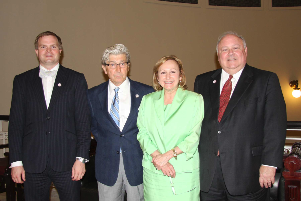 Left to Right, SCLHS Officers: Treasurer Benjamin Janke, Secretary Professor Paul R. Baier, President Donna D. Fraiche; and First Vice President Judge Marc T. Amy.