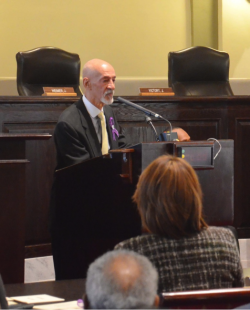 A.P. Tureaud, Jr. addresses the audience during the portrait presentation ceremony.