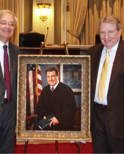 Jack M. Weiss, Chancellor and Professor of Law, LSU Paul M. Hebert Law Center; Portrait of Judge James L. Dennis; Judge James L. Dennis, U.S. Court of Appeals Judge for the Fifth Circuit.