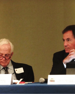 Retired Chief Justice Pascal F. Calogero, Jr. and Grover Joseph Rees, III, United States Ambassador (Retired) listen to a lecture during the LSBA Francophone Section's symposium commemorating the Louisiana Supreme Court's Bicentennial.