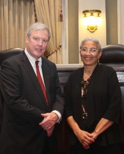 SCLAHS Board Member E. Phelps Gay and Professor Evelyn L. Wilson in Louisiana Supreme Court courtroom after her CLE